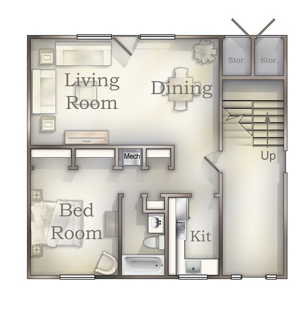 One Bedroom Down floor plan
